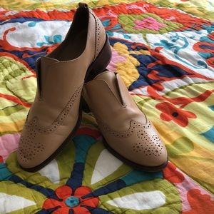 J Crew camel leather slip-on loafers